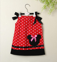 appliqued pillow - Hot Sale Kids Clothing Red Black Pillow Case Dress Girls Dresses Cotton Summer Baby Dress With ribbon