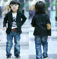 Wholesale Autumn Kids Boys High Quality Cotton Western style Clothes Black Dark Blue Children Fashion Boy Diagonal Small Suit V Neck Casua