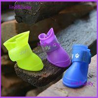 Wholesale 4pcs for set Pet Dog Rain Booties Candy Rubber Waterproof Shoes S M L