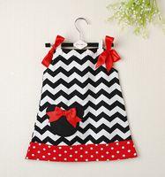 Wholesale Posh Kids Clothes Petti Black Chevron Pillow Case Dresses Girls dresses