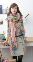 Wholesale Floral Mixed Spinning Scarf Silk scarf Curling scarf cm Larg Size