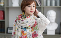 Wholesale Fashion Pproduction Autumn Winter Paris yarn Floral Scarf colors For Lady