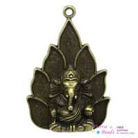 Wholesale Charm Pendants Buddha Amulet Antique Bronze Elephant Carved x3 cm K10035