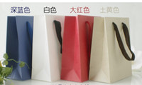 Paper Hand Length Handle Kraft Paper free shipping recyclable paper gift bags with handle gift paper bag packaging bags christmas gift bag 18x21x8cm