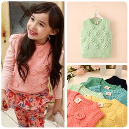 Wholesale Korean three dimensional flower sweater girls candy color knitted vest Kids clothing