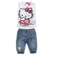 Wholesale 2014 Baby Girls Clothing Set for Summer Hello Kitty frozen KT with Cute Cartoon Cat Pattern Kids Cotton Apparel Suit