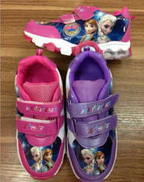 Wholesale Cartoon Frozen Anna Elsa Soft bottom Sneakers yards double Velcro casual shoes Children walking shoes baby PU shoes pairs