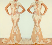 Reference Images High Neck Lace nude illusion evening gowns high neck cap sleeve michael costello lace mermaid 2014 ruched sweep train sexy pageant prom formal dresses