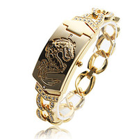 Wholesale 10pcs Hot luxury watch Women s Fashionable Dragon Pattern Gold Alloy Quartz Bracelet Watch