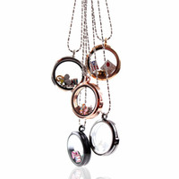 Lockets fashion Women's 30PCS Mixed 5 Colors Memory Living 30MM Glass Magnetic Round Lockets Necklace