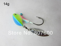 High Carbon Steel Barbed Hooks Lake Fishing Live Bait Jig Lead Jig Head Hook Luminous 14g With Spinner Blade 15 Pcs Lot+ fishing hook