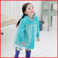 Coat Girl Spring / Autumn 2014 New Frozen Fashion Baby Girls frozen raicoat Clothes Snow Queen Elsa Blue Gauze Coat Princess Anna Raincoat Jacket 5pc lot 2-8T melee