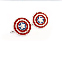 Cuff Links Men's rhodium color plating High Quality Star Cufflinks Captain America French Shirt Men Cufflink Jewelry Wholesale Costume Accessories