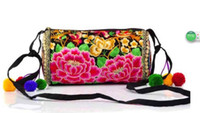 Wholesale Faux Balls Embellished Handbag Crossbody Messenger Shoulder Bag Embroidered National Flower Zipper Closure Pouch Clutches Satchel