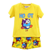 Boy Summer 1T-2T-3T-4T 14 summer new sleepwear baby clothes suit 1-4T boy-kids t-shirts+Pants 6sets lot s hoot pyjamas cotton kids pajamas