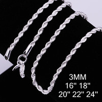 Wholesale Sterling Silver Rope Chain 3mm - Hot Selling 925 sterling silver 3MM Twist ROPE CHAIN Necklace 16inch 18inch 20inch 22inch 24inch 10pcs Free Shipping 1015