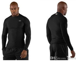 Wholesale MEN S UA Armour HEATGEAR Gym Fitted Squeeze COMPRESSION Long SLEEVE stretchy T Shirts Under with original tags Under UA Brand
