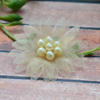 Wholesale 100pcs lace flower Nice fancy Satin ribbon flower w sotne appliques wedding craft DIY Accessories