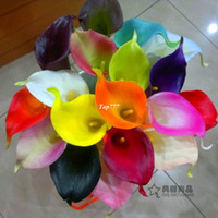 Wholesale Natural Real Touch Pu Latex Flower Orange Calla Lilies For Wedding Bridal Bouquet Cloor Available