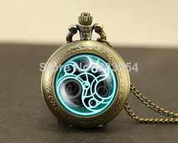 Wholesale fashion Doctor Who Pocket Watches quartz Necklace Dr Who masters brass watch locket necklace Timelord Seal Locket necklace