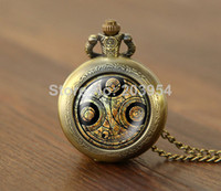 Wholesale Doctor Who quartz Pocket Watches Necklace Dr Who masters fob locket necklace Timelord Seal Locket long chain fashion jewelry power