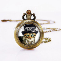 Wholesale Steampunk Cat Vine Style Quartz Pocket Watches Pendant Necklace long Chain New with Battery womens wedding handmade bronze mens