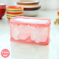 Wholesale 4 set Kitchen Plastic Spice box Two container set for Sauce sugar salter pepper cruet Spice seasoning Condiments