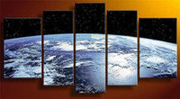 Oil Painting Abstract Unframed Wholesale - 5 Panel Wall Art The Earth World Map From The Space Worldwide Landscape Modern Canvas Oil Painting On Canvas Free Shipping