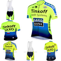 Wholesale 2014 men or women Saxo Tinkoff Green Cycling short sleeve bib kits bib shorts Cycling clothing ciclismo cycling jersey cycling wolfbike