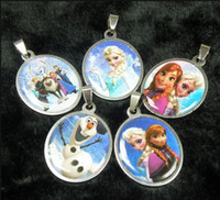 Charms stainless steel charms - 2014NEW Frozen Stainless Steel Pendant Necklaces Fashion Jewelry Cartoon Frozen Elsa Anna Olaf Metal Charms Jewelry