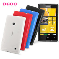 For Nokia Silicone White S-Line Series Flexible SLIM-Fit TPU Protective Case cover for Nokia Lumia 520 free phone sticker