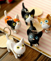 Wholesale 200pcs Lovely cute Lovers Cartoon Animal Cat Keychains Key Ring with Bell Colors Christmas Gifts