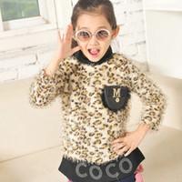 2014 Autumn ragazzi della camicia dei bambini collo alto abbigliamento moda manica lunga maglietta delle ragazze della stampa del leopardo di base maomao vestiti 4pcs / lot SM223