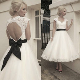 Wholesale New Short Tea Length A Line Vintage Lace Wedding Dresses Capped Sleeve Custom Made Hollow Hot Fashion Bridal Gowns Black Sash Bow