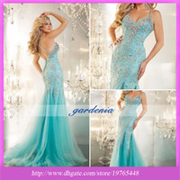 Reference Images Sweep Train Trumpet/Mermaid Pageant Gown 2014 Modest Sparkling Beaded All Bodice Mermaid Aqua Tulle Prom Dresses Evening Formal Gown With Straps Backless Sweep Train