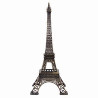 metal ornaments - 25cm Home Decoration Vintage Bronze Tone Paris Eiffel Tower Fit For Office Desk Ornament GMU