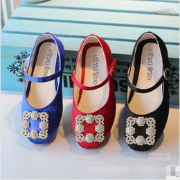 Wholesale Stain Autumn Korean Children Shoes Rhinestone Baby Girls Girl Plu Size Princess Slip on Soft Sole Flats Shoe Blue Red Black for T K0462