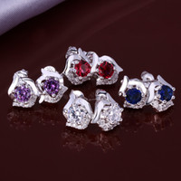 Wholesale New Fashion Elegant Sterling Silver Four Color Shinning Swarovski Crystal Women s Stick Earrings E491 Price Wedding Jewelry