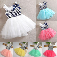 Wholesale 2015 Newest Girl Dress Tutu Skirt Dress Design for Kids Baby Girl Party Dress Girls Clothing flower Kids Dress Baby dress with LACE Striped