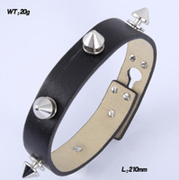 Wholesale Decorative rivets black genunie leather bracelets with stainless steel charms for men and women Minimum Order Quantity is