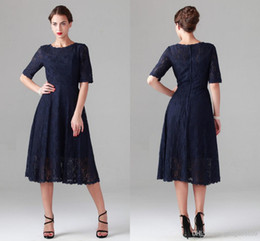 New Navy Blue Tea-length Lace Mother of the Bride Dresses Vintage Half Long Sleeve Beach Bridesmaid Bridal Party Evening Gowns 2014 Cheap