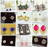 Wholesale Luxury earrings charm Dangle Chandelier Ear Cuff Diamond pendants Earring Back Hoop Huggie Stick Stud modern charms jewelry Christmas gifts