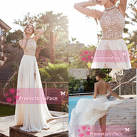 Wholesale 2014 Prom Dresses High Neck Backless Lace Applique Chiffon Crystals Sash Side slit Sweep train Sexy Evening Gowns Homecoming Dresses BO5557