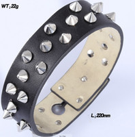 Wholesale Black Punk stud genunie leather with stainless steel rivet bracelet for men and women low MOQ mm lenght