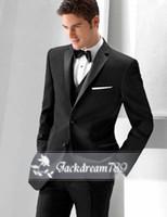 tweed jacket - 2014 Black suit Custom made High quality Tuxedos Groom Groomsmen Handsome wedding suits for men Jacket Pants Vest Bow Tie