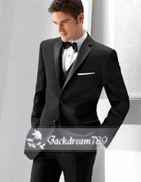 Wholesale 2014 Black suit Custom made High quality Tuxedos Groom Groomsmen Handsome wedding suits for men Jacket Pants Vest Bow Tie