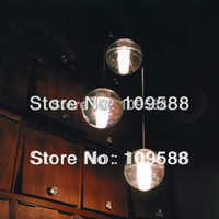 """Modern 12v LED Wholesale-MN-3 LIGHTS bocci MODERN CLEAR CAST GLASS BALL """"METEOR SHOWER"""" CHANDELIER WITH POLISHED CHROME STAINLESS STEEL CANOPY"""