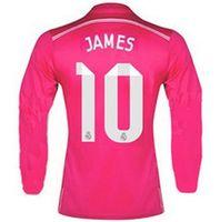 Wholesale 2014 Real Madrids James Away Pink Soccer Jerseys Thai Quality Long Sleeve Football Club Soccer Uniforms Hot Sales Soccer Shirts Kits