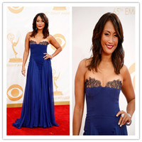 Wholesale 2014 Fashion inspired by Carrie Ann Inaba A line Evening Dress Strapless Sleeveless Sweep Brush Train Lace Georgette Royal Blue Dress