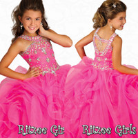 Wholesale Stunning Crystal Girls Pageant Dresses with Beaded Halter Organza Ruffles Floor Length Pink Party Prom Gowns Glitz Little Flower Girls Dress